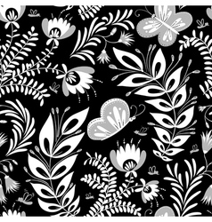 Monochrome floral seamless vector