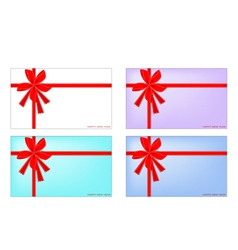 Collection of new year card with red ribbon vector