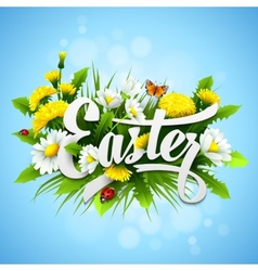 Title easter with spring flowers vector