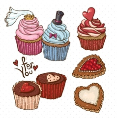 Doodle set elements with cookies and cupcakes vector