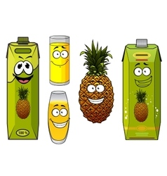 Pineapple fruit and juices with happy face vector