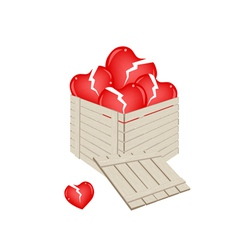 Broken hearts in a wooden cargo box vector