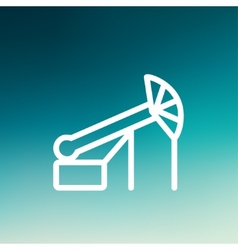 Pump jack oil crane thin line icon vector