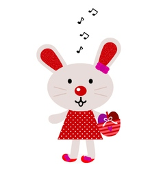 Red easter singing bunny vector