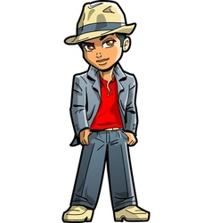 Stylish young man with fedora vector
