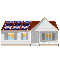House with solar battery vector
