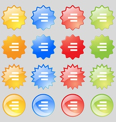 Right-aligned icon sign big set of 16 colorful vector