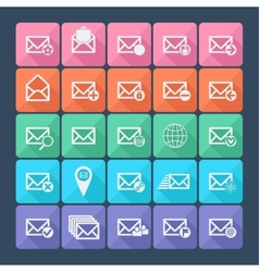 Set of twenty five flat mail icons vector