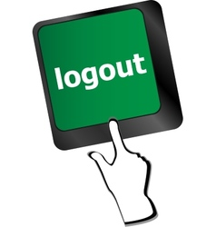 Logout word on computer keyboard button vector
