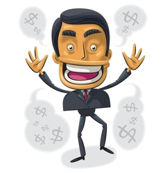 Overjoyed with success businessman vector