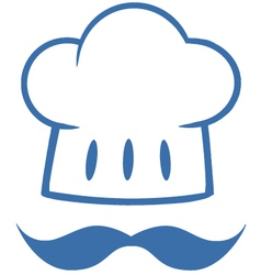 Blue chef hat with a mustache logo vector