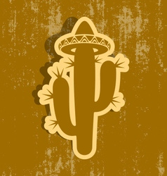 Cactus with sombrero label vector