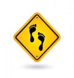 Yellow sign with foot vector