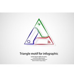 Triangle infographic from outlines on light vector