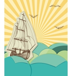 Retro sea background vector