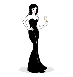 Girl with champagne vector