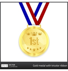 Gold medal with tricolor ribbon vector