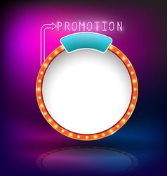 Retro vintage circle frame promotion neon vector