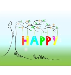 Picture of tree with text vector