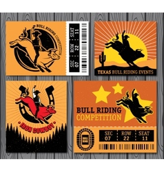 Rodeo cowboy riding a bull retro style poster vector