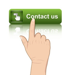 Hand push contact button vector