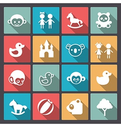 Zoo and animals icons in flat design vector