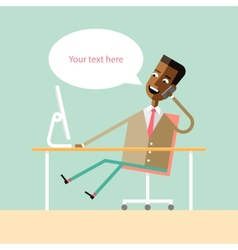 Handsome african american manager talking on phone vector