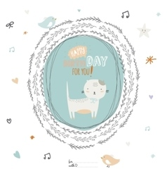 Happy birthday card with greeting wish and cute vector
