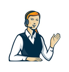 Telemarketer call center operator retro vector