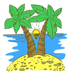 Island with palms vector