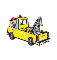 Tow wrecker truck driver thumbs up vector