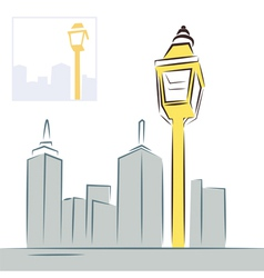 Retro street lantern and modern city skyline vector