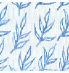 Seamless pattern with textile branches knitted vector