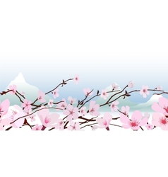 Delicate pink spring blossom vector
