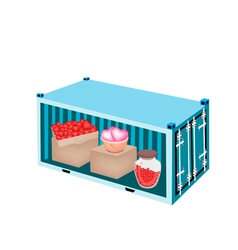 Stack of hearts in a cargo container vector