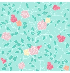 Mint seamless pattern with pink roses and vector