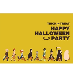 Poster flat background for halloween kid walk vector
