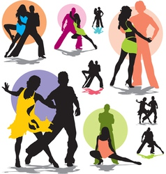Set dance stars silhouettes vector