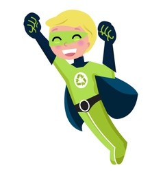 Green super hero boy vector