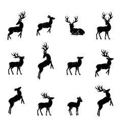 Deer silhouette set vector