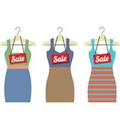 Woman clothes on hanger with sale tags vector