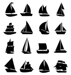 Sail boat icons set vector