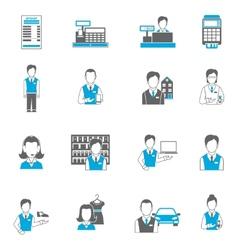 Set icons salesman flat vector