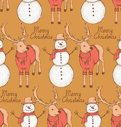 Sketch snowman and rain deer in vintage style vector