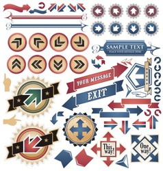 Vintage arrows - icons and symbols collection vector