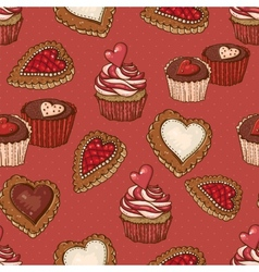 Seamless background with cookies and cupcakes vector
