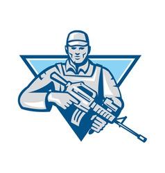 American soldier assault rifle retro vector