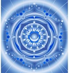 Abstract blue pattern mandala of vishuddha chakra vector