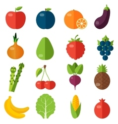 Fresh fruits and vegetables flat icons set vector