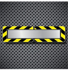 Abstract metal background with warning stripe vector